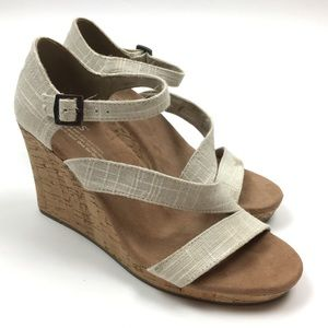 TOMS cream white buckle high wedge sandal shoes